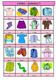 English Worksheet: clothes - pictionary 1