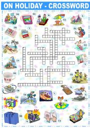 English Worksheet: ON HOLIDAY - CROSSWORD