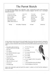 English Worksheets: Monty Python - Dead Parrot Sketch