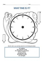 English Worksheet: Snail clock