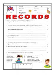 English Worksheets: Listening activity (Guinness Book of) Records