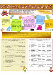English Worksheet: COLLOCATION 7 - CONTEMPORARY, MODERN, NEW, NOVEL, RECENT