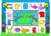 English Worksheets: Colorful Creatures Animal Game - (Ideas on Page 2)