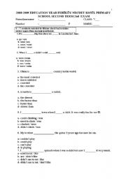 English worksheets 7th grade 2nd term 2nd exam test