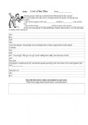 English Worksheet: Semi-blank script for Lord of the Flies Reader�s Theater