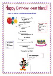original happy birthday song esl worksheet by nikita2008. Black Bedroom Furniture Sets. Home Design Ideas