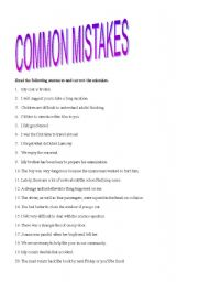 English Worksheet: Common Mistakes
