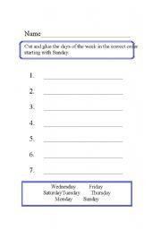English worksheet: Days of the Week Activities