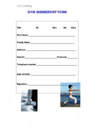 English Worksheets: Filling in a form for the gym