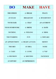 Collocations- make, do and have.