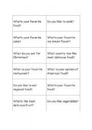 English worksheet: Food cards for conversation