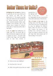 English Worksheets: Better times for Bulls? - bullfighting
