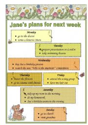 English Worksheets: Jane� s plans for next week