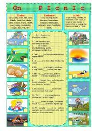 English Worksheet: On PICNIC