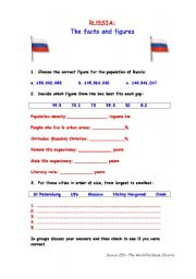 English worksheets: Russia: the facts and figures