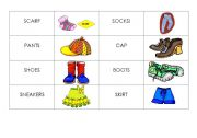 English Worksheets: Clothes domino and/or memory game - beginners
