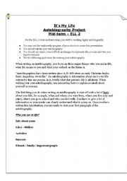 English Worksheets: Assessment - autobiography