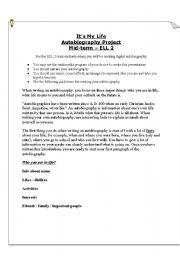 English Worksheet: Assessment - autobiography