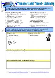 English Worksheet: Transport and Travel - Listening activities