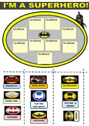 I AM A SUPERHERO!   !!!! FOR BOYS!!! - A SET OF BATMAN THEMED REWARD STICKERS WITH A TEMPLATE FOR STICKERS , 2  BATMAN MASKS AND 2 BATMAN ACTIVITIES (MAKE A NEW WORD AND BATMAN WORDSEARCH) 4 pages