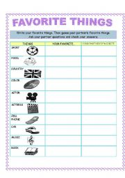 English Worksheets: FAVORITE THINGS