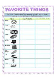 English worksheet: FAVORITE THINGS