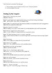 English worksheet: Hooking up my computer