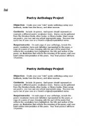 Student poetry anthology project