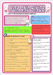 English Worksheet: FOR AND SINCE