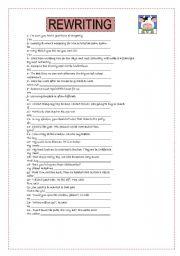 English Worksheets: REWRITING
