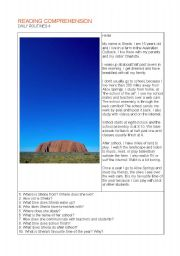 English Worksheets: reading daily routines in the australian outback