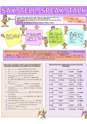 English Worksheet: COLLOCATION 10 - SAY, TELL, SPEAK, TALK