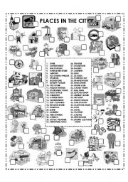 English Worksheet: PLACES IN THE CITY (B&W)