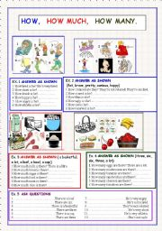 English Worksheet: How, how much, how many