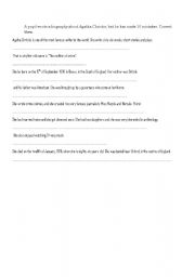 English Worksheet: Mistakes in Agatha Christie�s biography