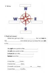 English Worksheets: north south east west fill in the gaps