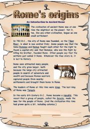 English Worksheets: Rome´s origins