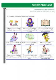 English Worksheet: CONDITIONALS - ZERO vs FIRST (type zero and first contrasted)