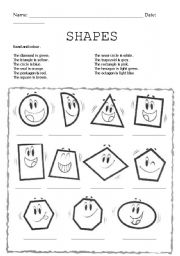 English Worksheets: Shapes and colours