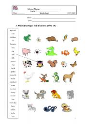 English Worksheets: Matching the animals