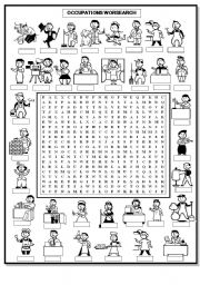 English Worksheets: OCCUPATIONS WORDSEARCH
