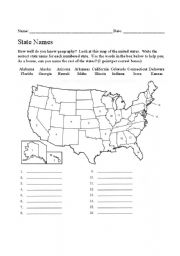 Name the States Worksheet 5 4th - 8th Grade Worksheet   Lesson Planet