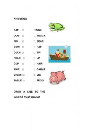 English worksheets: Rhyming