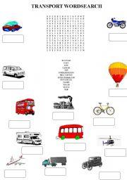 English Worksheet: transport wordsearch
