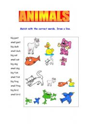 English Worksheets: Animal�s Matching