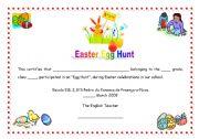 English Worksheet: Easter Egg Hunt certificate (07.05.09)
