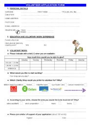 CHARITIES UK: Volunteer application form