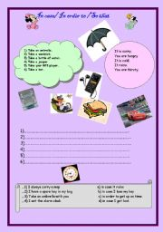 English Worksheet: so that- in case- in order to (two pages)