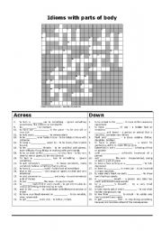English Worksheets: Idioms with parts of body crossword