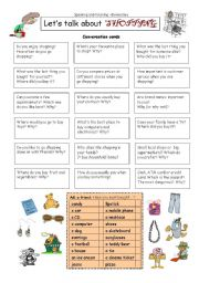 English Worksheet: Let�s talk about SHOPPING